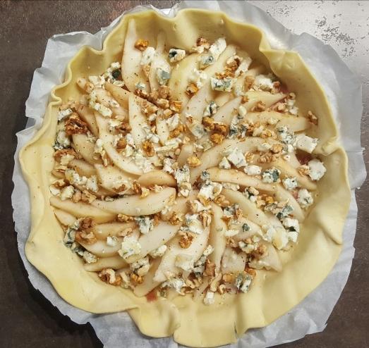 Tarte poire noix roquefort
